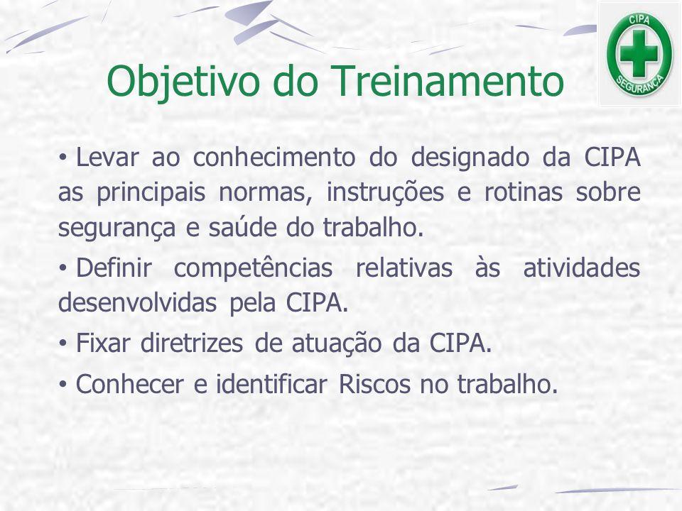 Objetivo do Treinamento Levar ao conhecimento do designado da CIPA as principais normas, instruções e rotinas sobre segurança e saúde do trabalho. Def