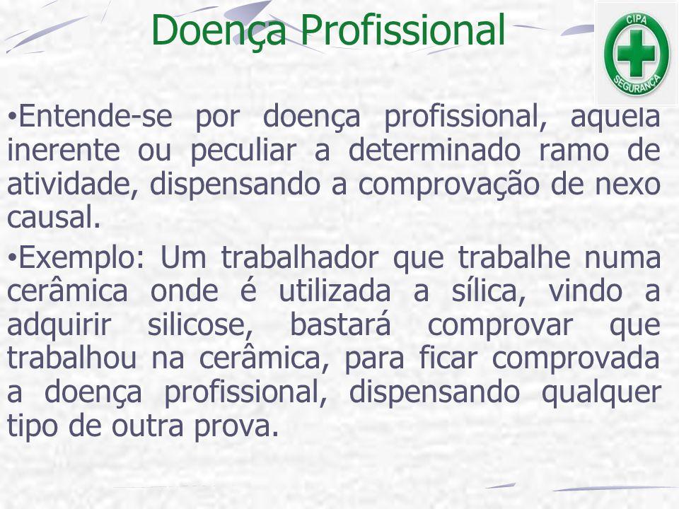 Doença Profissional Entende-se por doença profissional, aquela inerente ou peculiar a determinado ramo de atividade, dispensando a comprovação de nexo