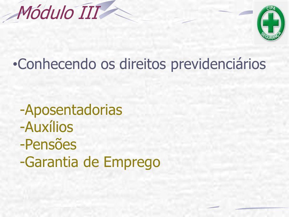 Módulo III Conhecendo os direitos previdenciários -Aposentadorias -Auxílios -Pensões -Garantia de Emprego