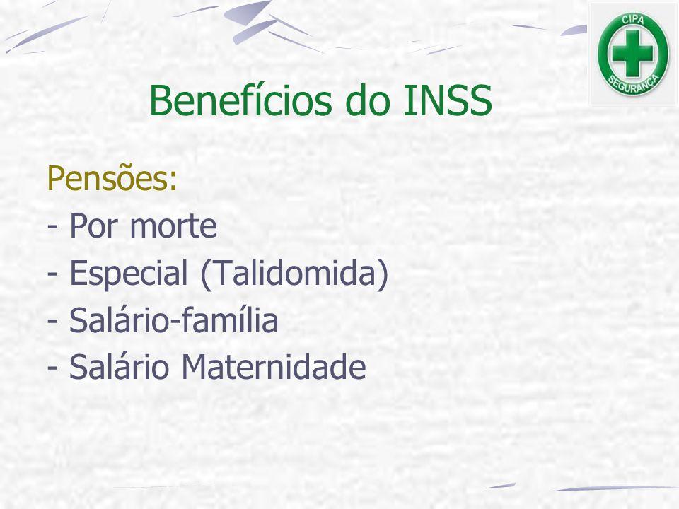 Pensões: - Por morte - Especial (Talidomida) - Salário-família - Salário Maternidade Benefícios do INSS