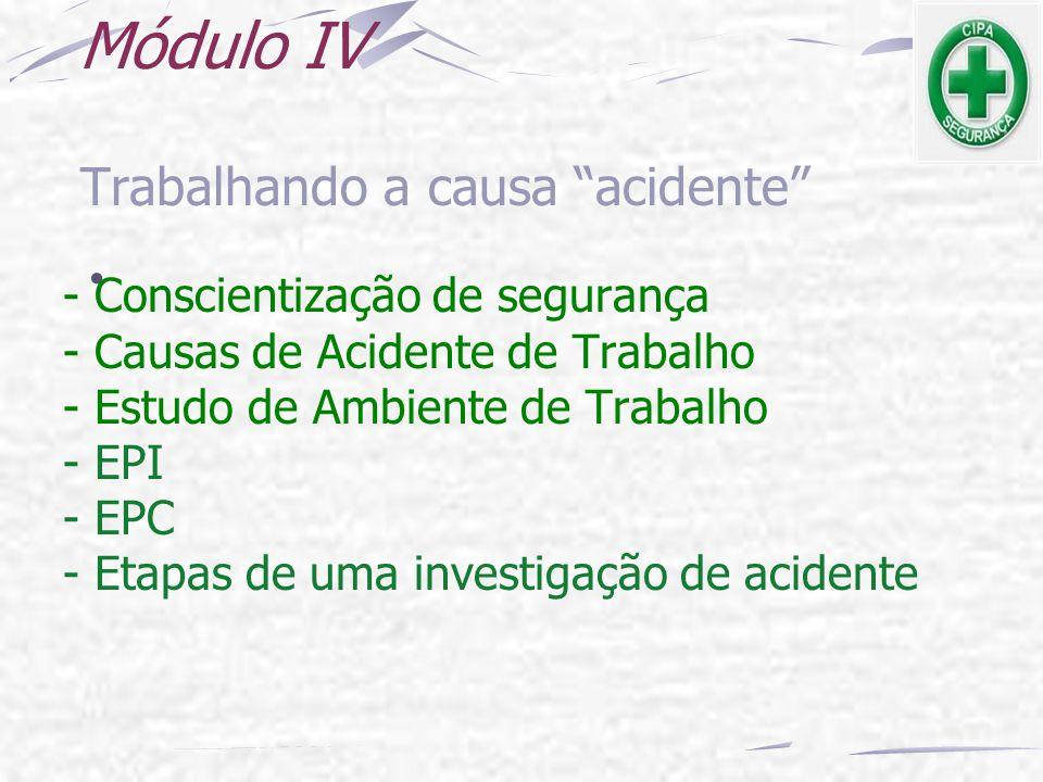 Módulo IV - Conscientização de segurança - Causas de Acidente de Trabalho - Estudo de Ambiente de Trabalho - EPI - EPC - Etapas de uma investigação de
