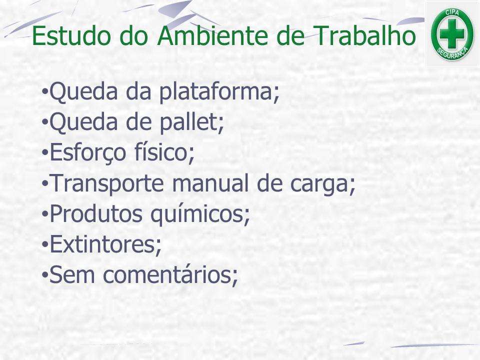 Estudo do Ambiente de Trabalho Queda da plataforma; Queda de pallet; Esforço físico; Transporte manual de carga; Produtos químicos; Extintores; Sem co