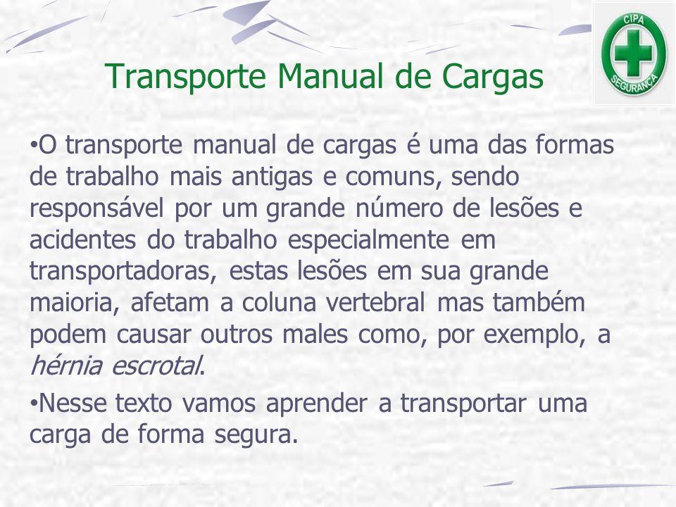 Transporte Manual de Cargas O transporte manual de cargas é uma das formas de trabalho mais antigas e comuns, sendo responsável por um grande número d