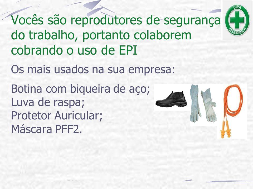 Vocês são reprodutores de segurança do trabalho, portanto colaborem cobrando o uso de EPI Os mais usados na sua empresa: Botina com biqueira de aço; L