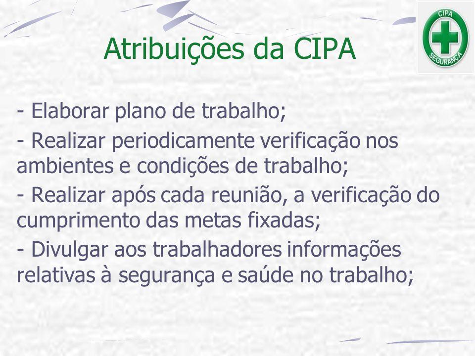 Atribuições da CIPA - Elaborar plano de trabalho; - Realizar periodicamente verificação nos ambientes e condições de trabalho; - Realizar após cada re