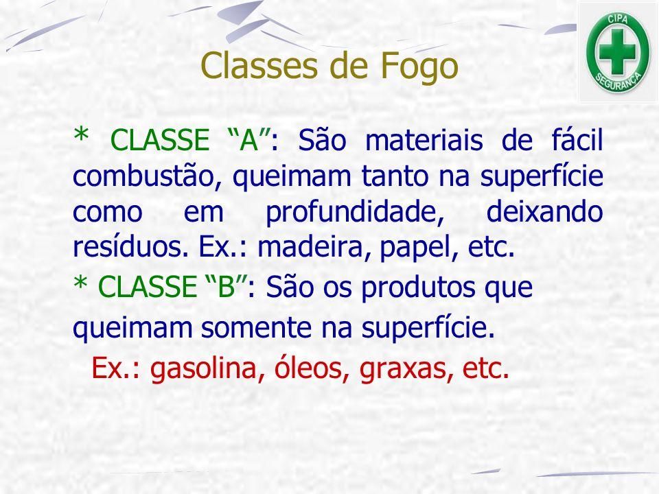 """Classes de Fogo * CLASSE """"A"""": São materiais de fácil combustão, queimam tanto na superfície como em profundidade, deixando resíduos. Ex.: madeira, pap"""