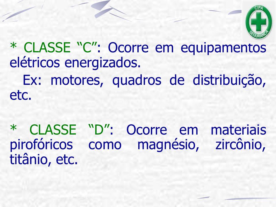 """* CLASSE """"C"""": Ocorre em equipamentos elétricos energizados. Ex: motores, quadros de distribuição, etc. * CLASSE """"D"""": Ocorre em materiais pirofóricos c"""