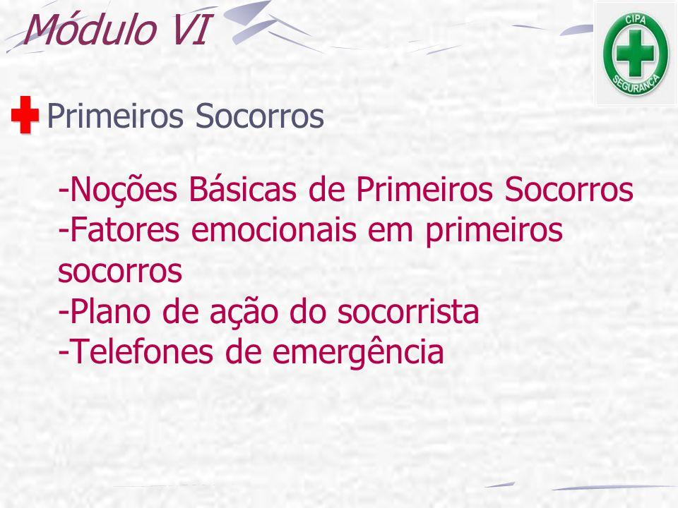 Módulo VI Primeiros Socorros -Noções Básicas de Primeiros Socorros -Fatores emocionais em primeiros socorros -Plano de ação do socorrista -Telefones d