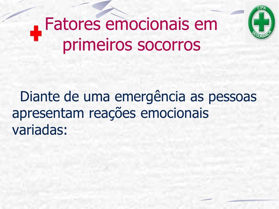 Fatores emocionais em primeiros socorros Diante de uma emergência as pessoas apresentam reações emocionais variadas: