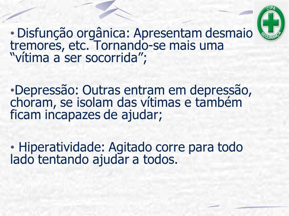 """Disfunção orgânica: Apresentam desmaios, tremores, etc. Tornando-se mais uma """"vítima a ser socorrida""""; Depressão: Outras entram em depressão, choram,"""