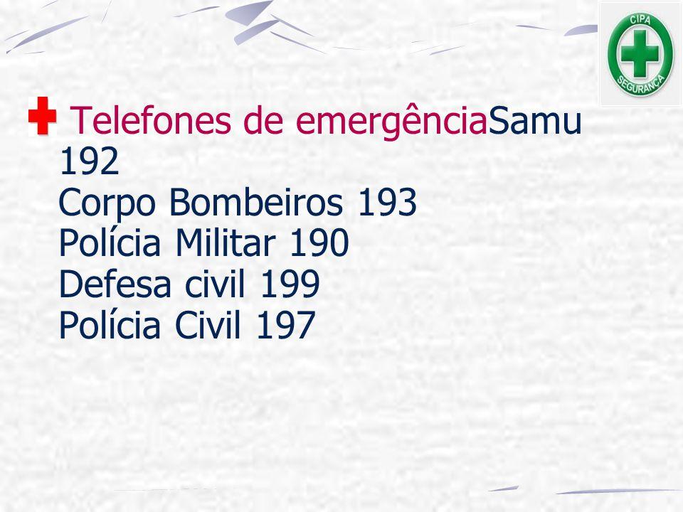 Telefones de emergênciaSamu 192 Corpo Bombeiros 193 Polícia Militar 190 Defesa civil 199 Polícia Civil 197