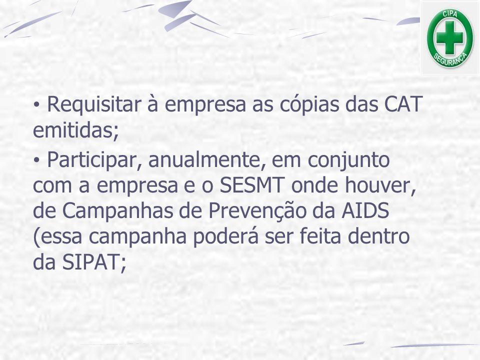 Requisitar à empresa as cópias das CAT emitidas; Participar, anualmente, em conjunto com a empresa e o SESMT onde houver, de Campanhas de Prevenção da