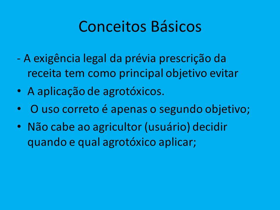 Conceitos Básicos - A exigência legal da prévia prescrição da receita tem como principal objetivo evitar A aplicação de agrotóxicos. O uso correto é a