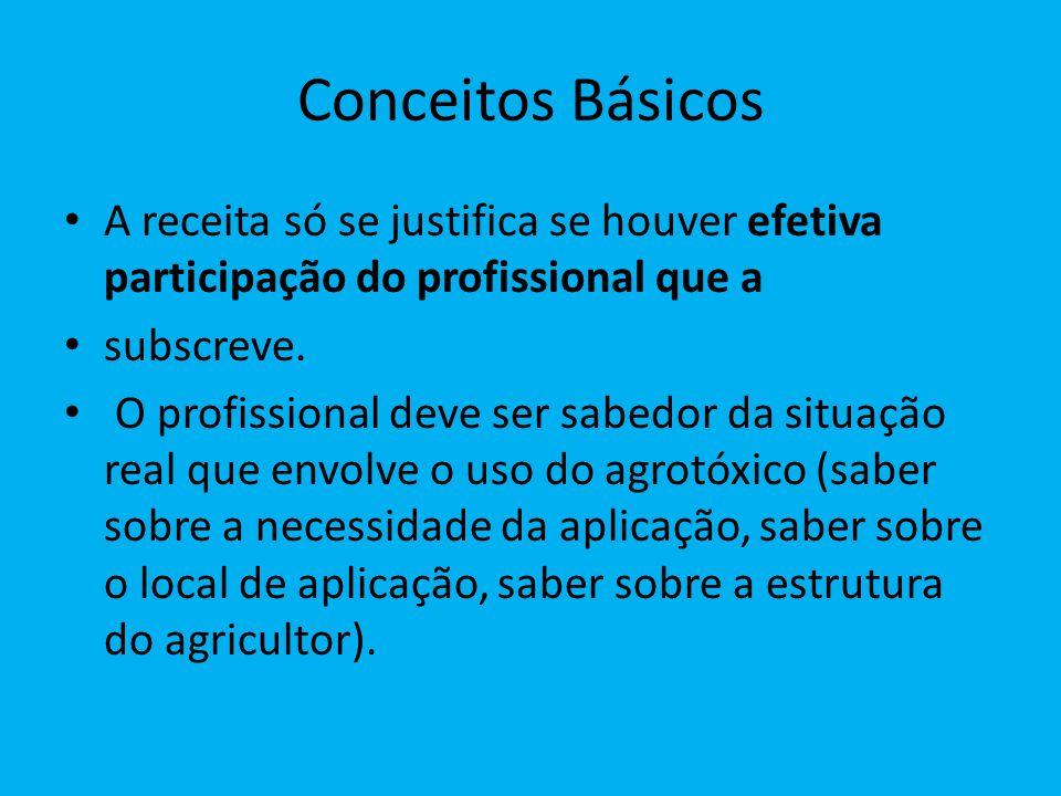Conceitos Básicos A receita só se justifica se houver efetiva participação do profissional que a subscreve.