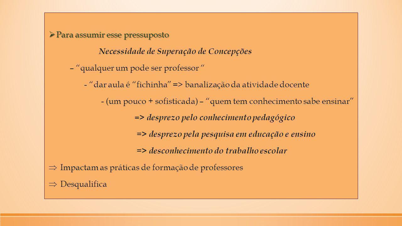 """ Para assumir esse pressuposto Necessidade de Superação de Concepções – """"qualquer um pode ser professor """" - """"dar aula é """"fichinha"""" => banalização da"""