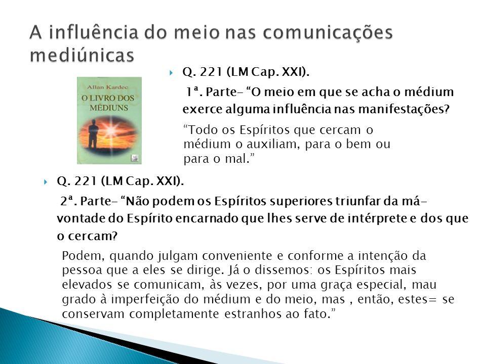""" Q. 221 (LM Cap. XXI). 1ª. Parte- """"O meio em que se acha o médium exerce alguma influência nas manifestações? """"Todo os Espíritos que cercam o médium"""