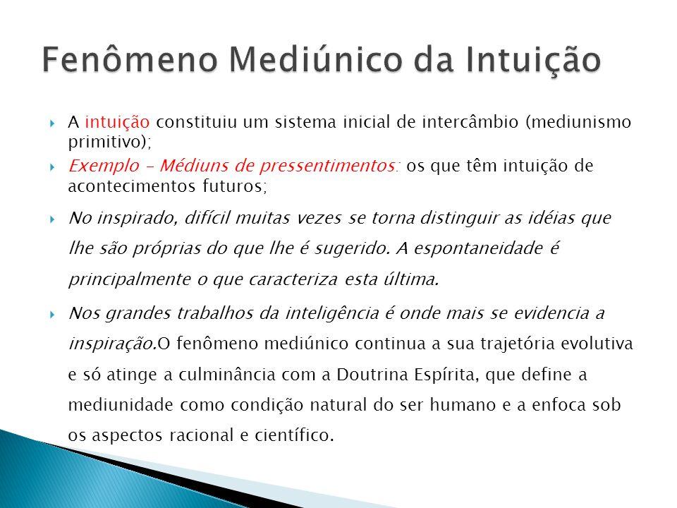  A intuição constituiu um sistema inicial de intercâmbio (mediunismo primitivo);  Exemplo - Médiuns de pressentimentos: os que têm intuição de acont