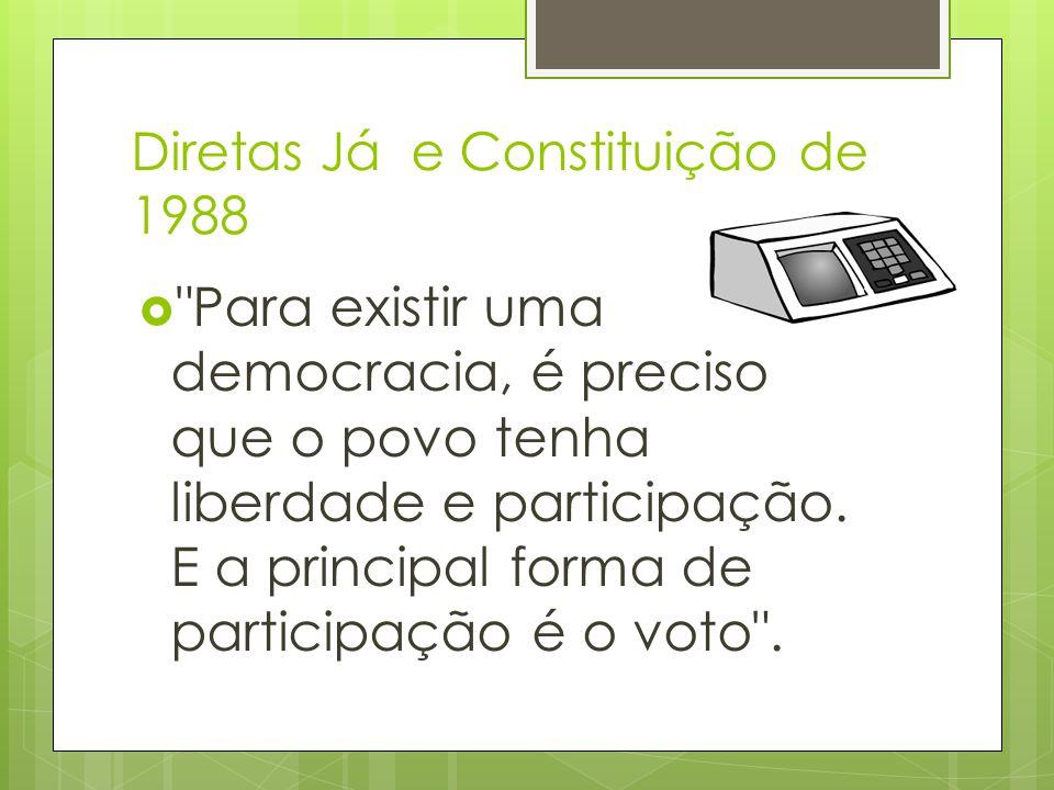 Diretas Já e Constituição de 1988  Para existir uma democracia, é preciso que o povo tenha liberdade e participação.