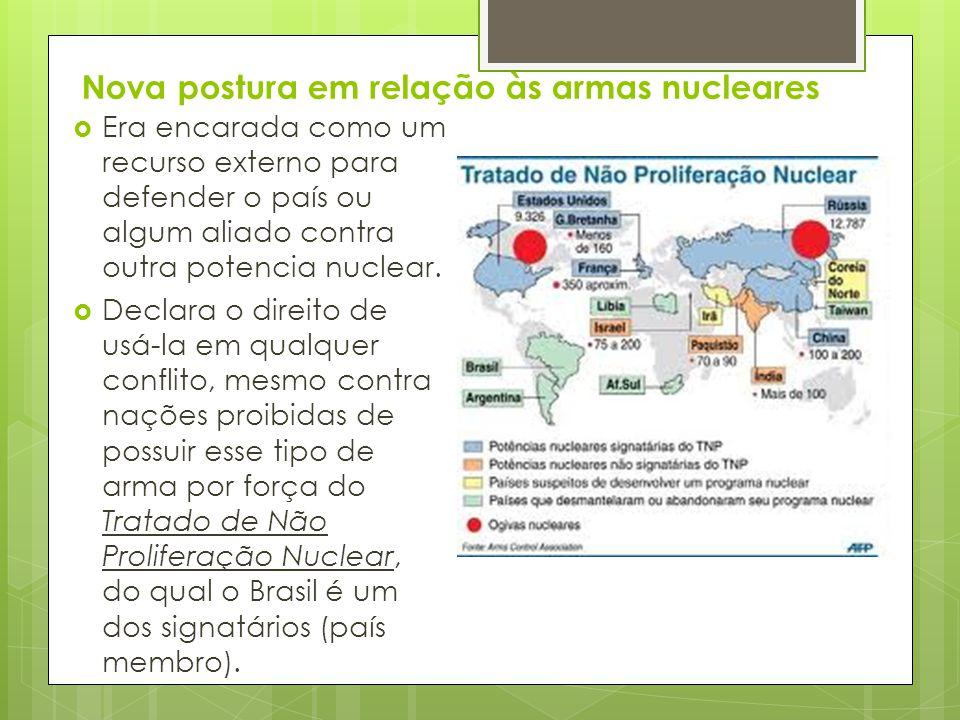 Nova postura em relação às armas nucleares  Era encarada como um recurso externo para defender o país ou algum aliado contra outra potencia nuclear.