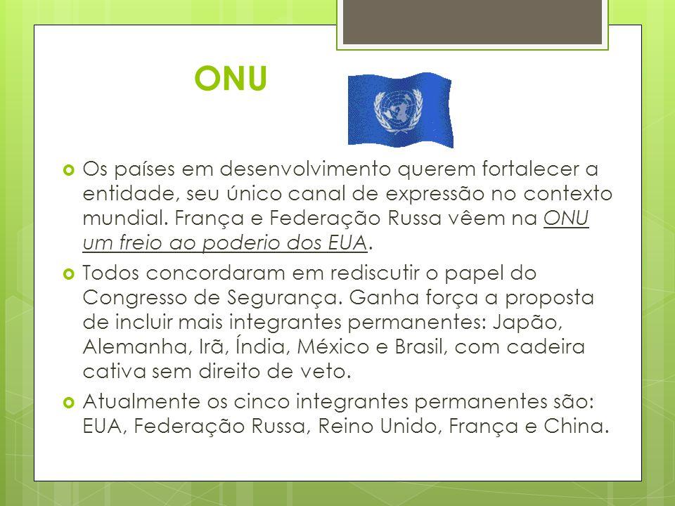 ONU  Os países em desenvolvimento querem fortalecer a entidade, seu único canal de expressão no contexto mundial.