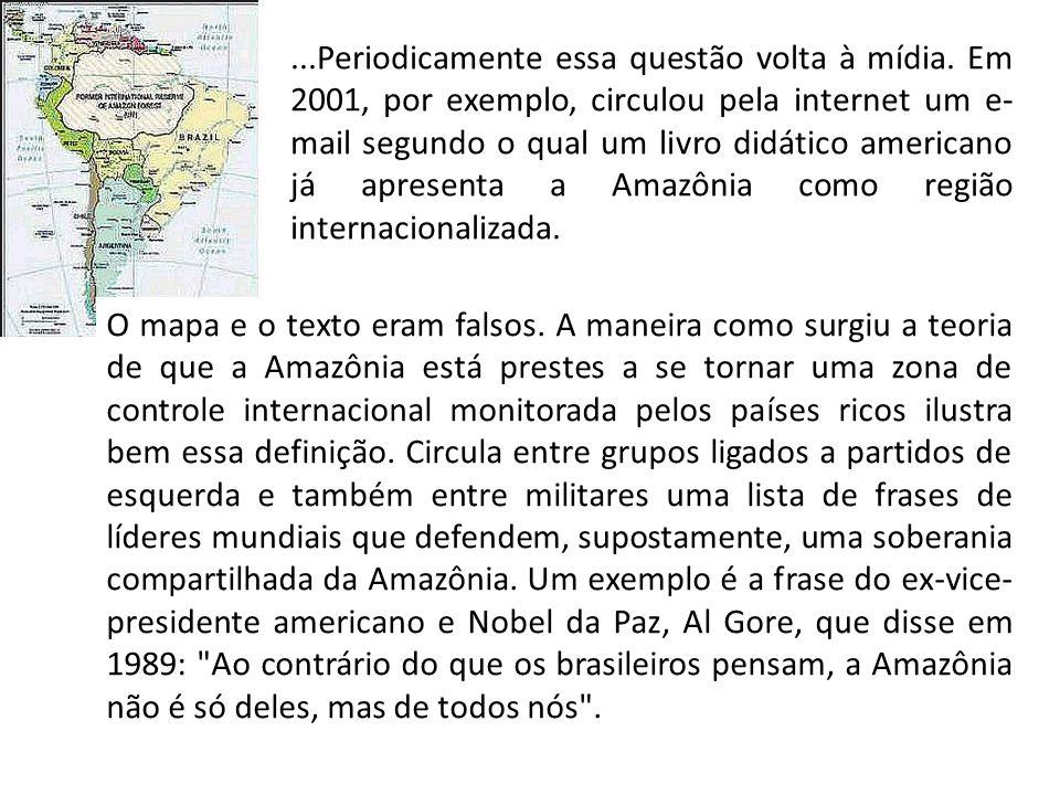O mapa e o texto eram falsos. A maneira como surgiu a teoria de que a Amazônia está prestes a se tornar uma zona de controle internacional monitorada