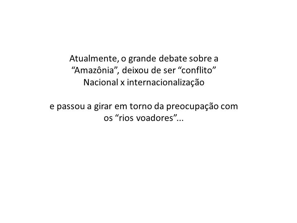 """Atualmente, o grande debate sobre a """"Amazônia"""", deixou de ser """"conflito"""" Nacional x internacionalização e passou a girar em torno da preocupação com o"""