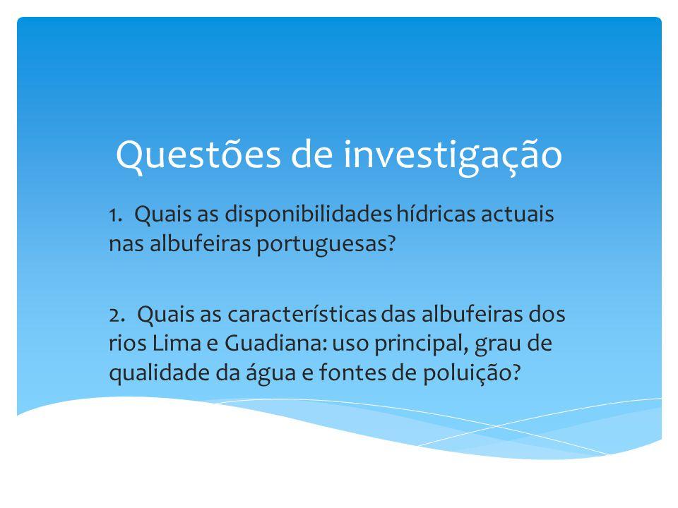 Questões de investigação 1. Quais as disponibilidades hídricas actuais nas albufeiras portuguesas? 2. Quais as características das albufeiras dos rios