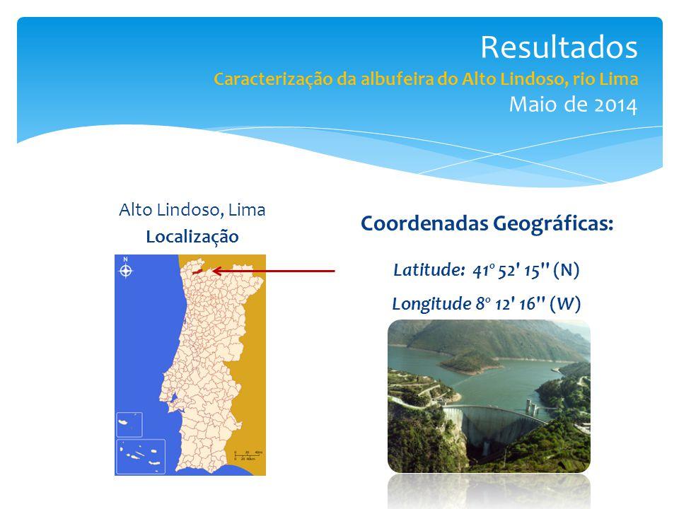 Resultados Caracterização da albufeira do Alto Lindoso, rio Lima Maio de 2014 Alto Lindoso, Lima Localização Coordenadas Geográficas: Latitude: 41º 52 15 (N) Longitude 8º 12 16 (W)