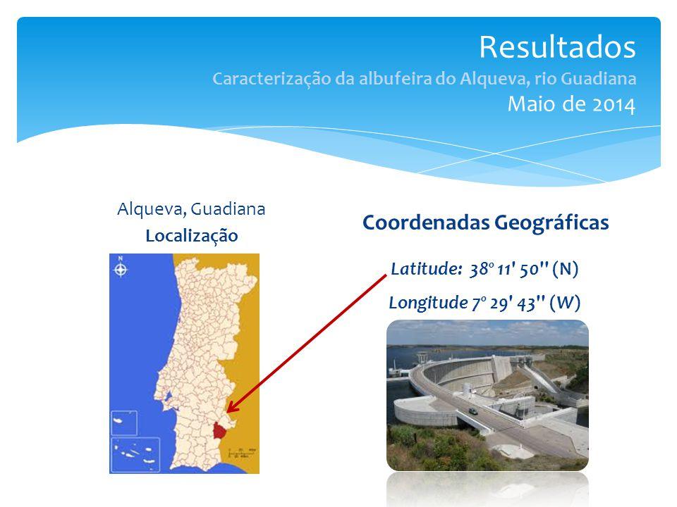 Resultados Caracterização da albufeira do Alqueva, rio Guadiana Maio de 2014 Alqueva, Guadiana Localização Coordenadas Geográficas Latitude: 38º 11 50 (N) Longitude 7º 29 43 (W)