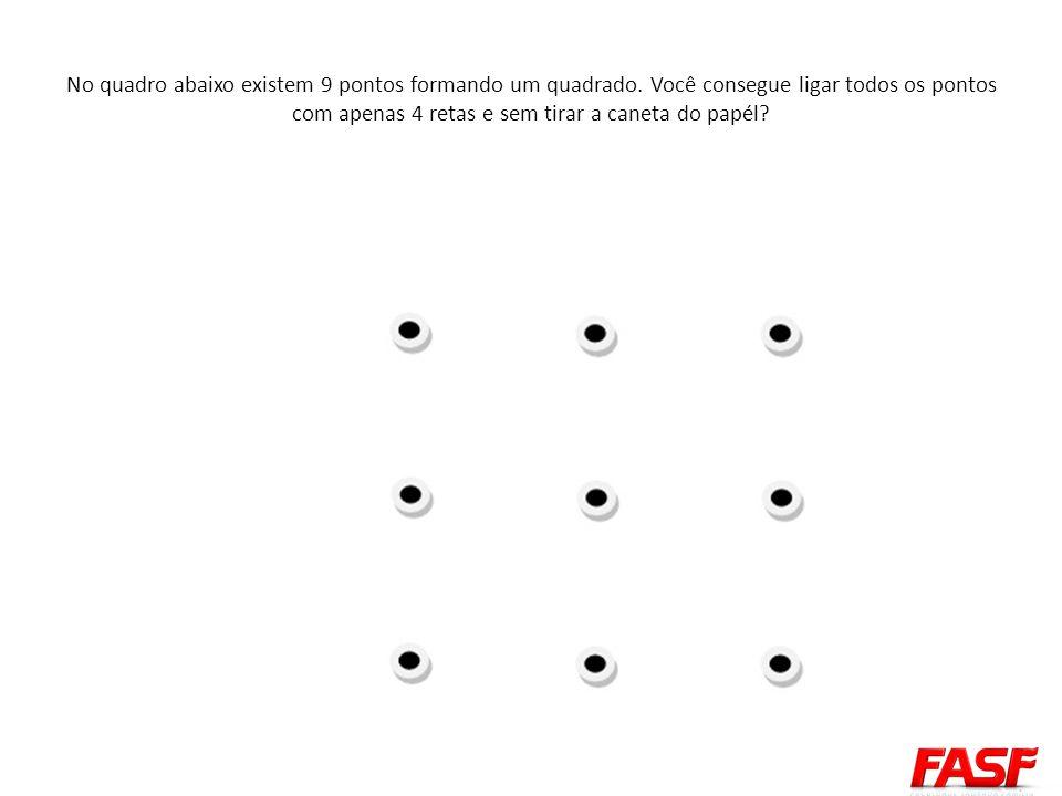 No quadro abaixo existem 9 pontos formando um quadrado. Você consegue ligar todos os pontos com apenas 4 retas e sem tirar a caneta do papél?