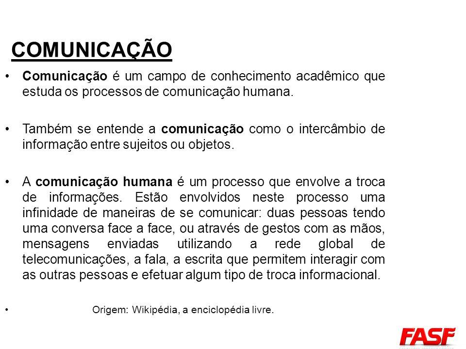 Comunicação é um campo de conhecimento acadêmico que estuda os processos de comunicação humana. Também se entende a comunicação como o intercâmbio de