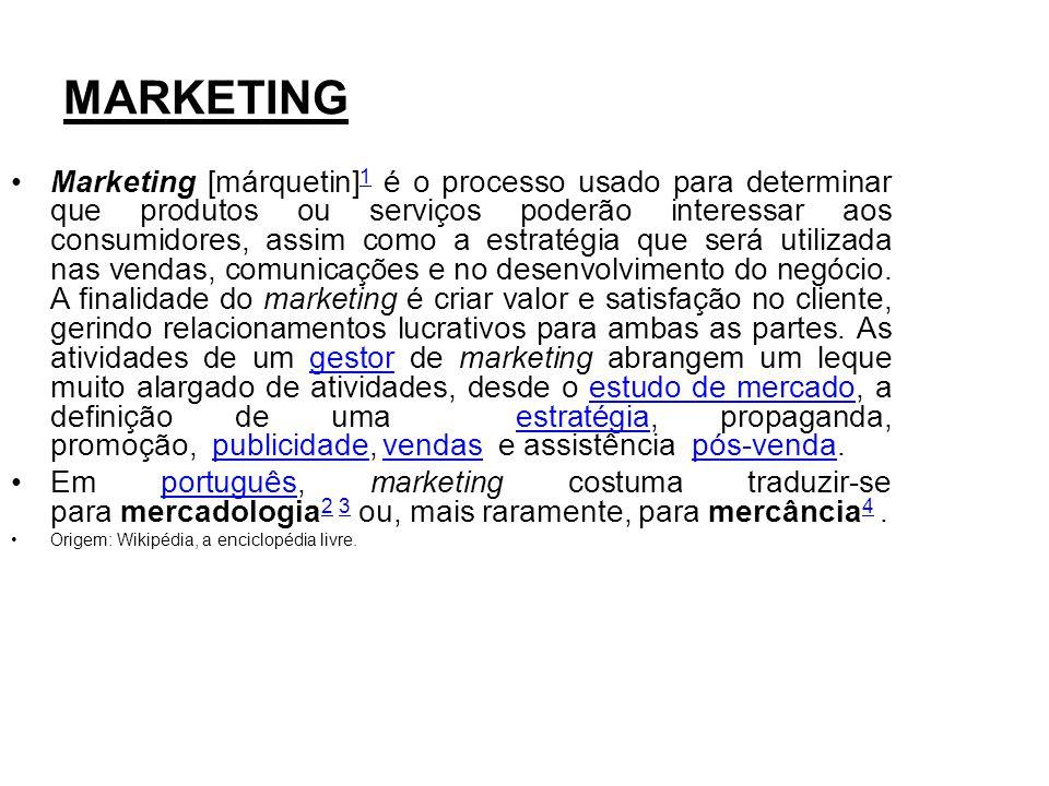 MARKETING Marketing [márquetin] 1 é o processo usado para determinar que produtos ou serviços poderão interessar aos consumidores, assim como a estrat