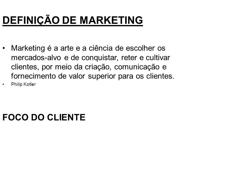 DEFINIÇÃO DE MARKETING Marketing é a arte e a ciência de escolher os mercados-alvo e de conquistar, reter e cultivar clientes, por meio da criação, co