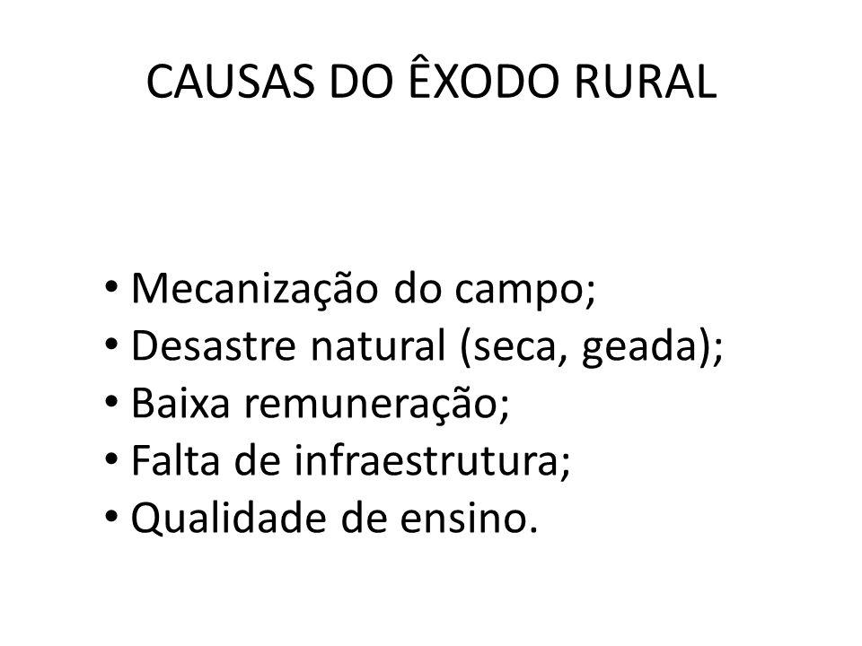 CAUSAS DO ÊXODO RURAL Mecanização do campo; Desastre natural (seca, geada); Baixa remuneração; Falta de infraestrutura; Qualidade de ensino.
