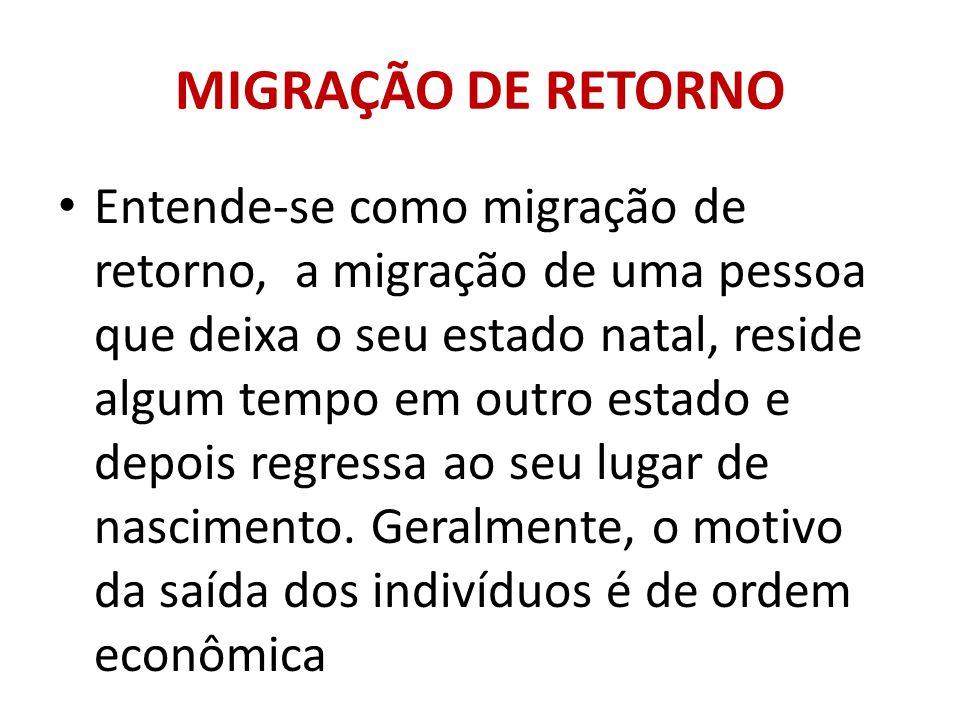 MIGRAÇÃO DE RETORNO Entende-se como migração de retorno, a migração de uma pessoa que deixa o seu estado natal, reside algum tempo em outro estado e d