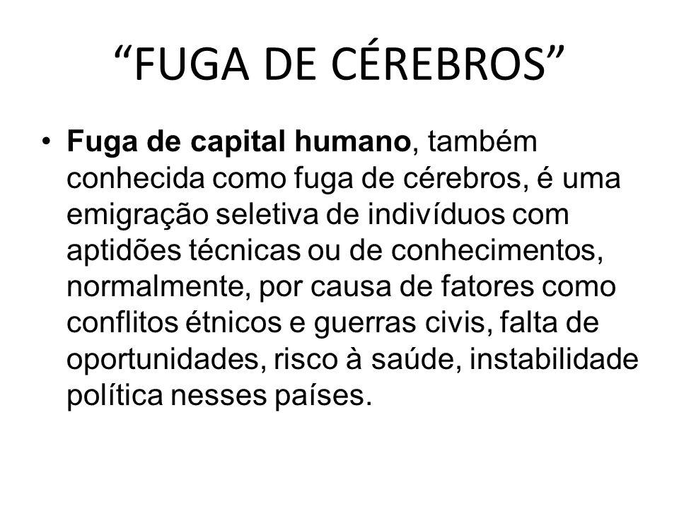 """""""FUGA DE CÉREBROS"""" Fuga de capital humano, também conhecida como fuga de cérebros, é uma emigração seletiva de indivíduos com aptidões técnicas ou de"""