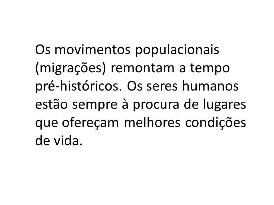 Os movimentos populacionais (migrações) remontam a tempo pré-históricos. Os seres humanos estão sempre à procura de lugares que ofereçam melhores cond