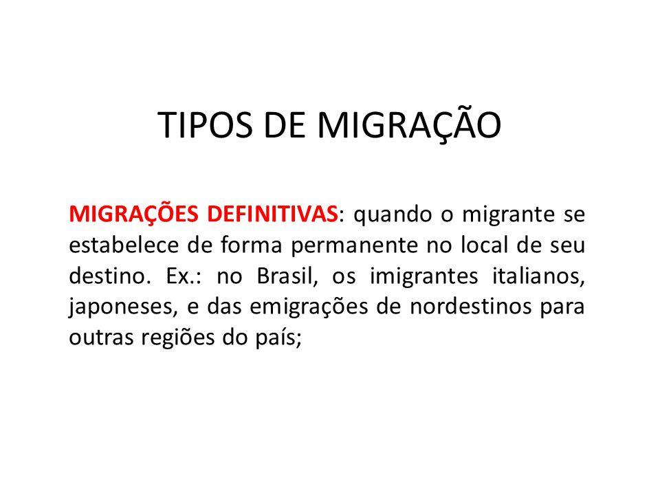 TIPOS DE MIGRAÇÃO MIGRAÇÕES DEFINITIVAS: quando o migrante se estabelece de forma permanente no local de seu destino. Ex.: no Brasil, os imigrantes it