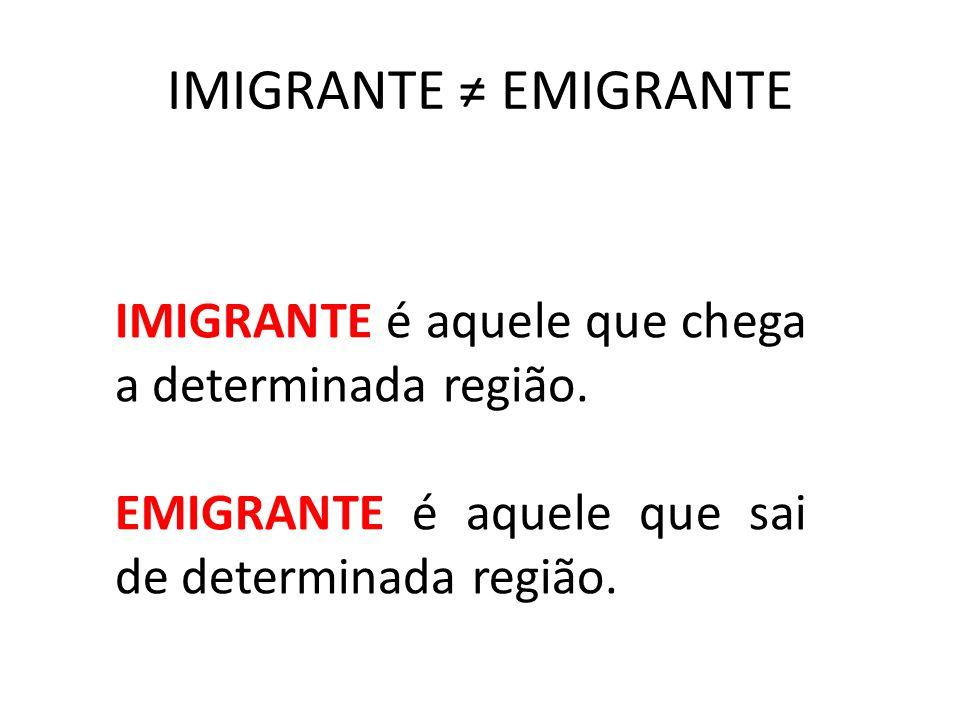 IMIGRANTE ≠ EMIGRANTE IMIGRANTE é aquele que chega a determinada região. EMIGRANTE é aquele que sai de determinada região.