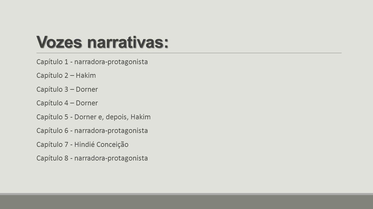 Vozes narrativas: Capítulo 1 - narradora-protagonista Capítulo 2 – Hakim Capítulo 3 – Dorner Capítulo 4 – Dorner Capítulo 5 - Dorner e, depois, Hakim