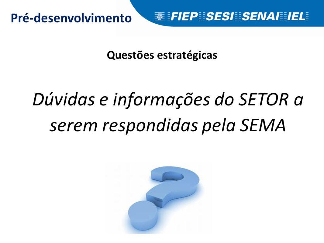 Dúvidas e informações do SETOR a serem respondidas pela SEMA Pré-desenvolvimento Questões estratégicas