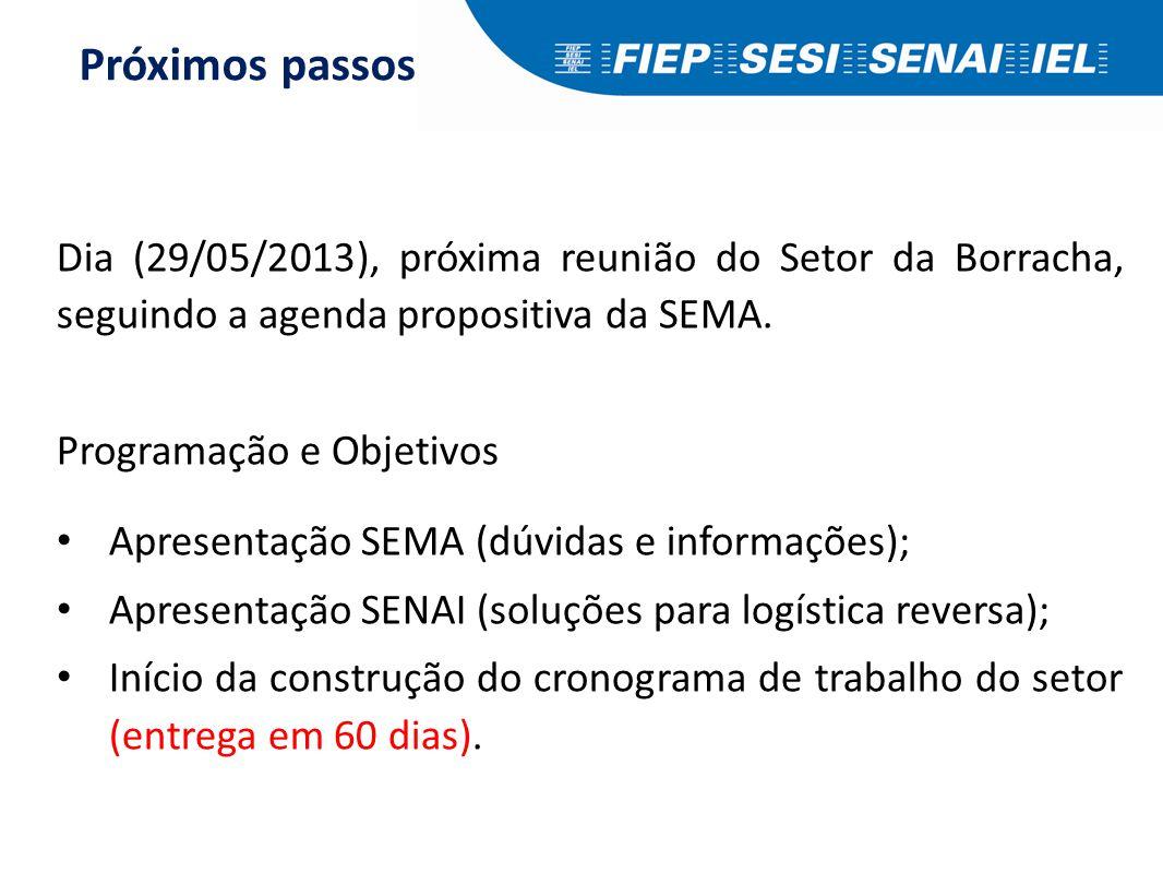 Dia (29/05/2013), próxima reunião do Setor da Borracha, seguindo a agenda propositiva da SEMA. Programação e Objetivos Apresentação SEMA (dúvidas e in