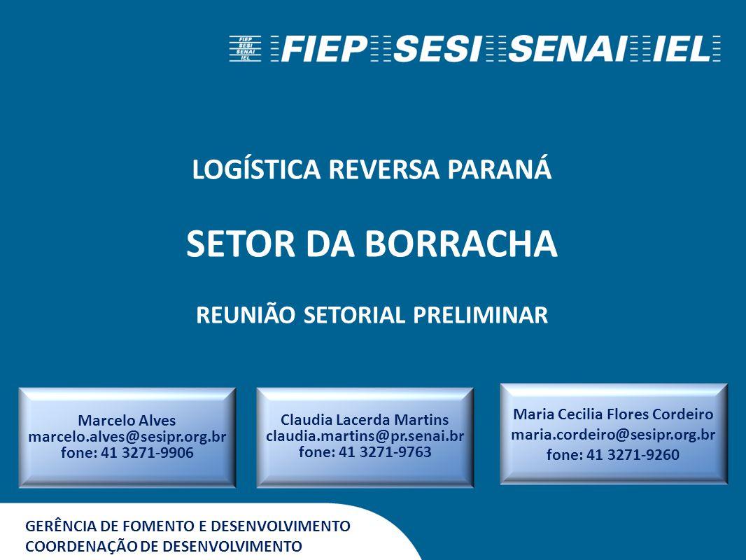 GERÊNCIA DE FOMENTO E DESENVOLVIMENTO COORDENAÇÃO DE DESENVOLVIMENTO LOGÍSTICA REVERSA PARANÁ SETOR DA BORRACHA REUNIÃO SETORIAL PRELIMINAR Marcelo Al