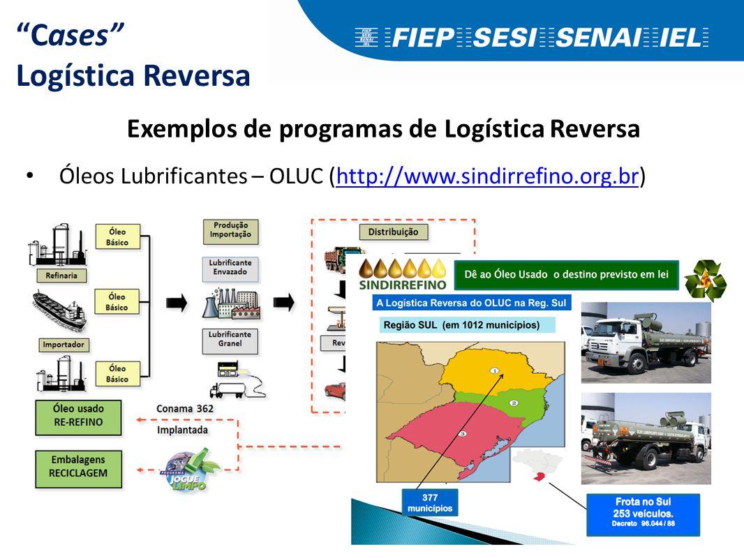 """Cases"" Logística Reversa Exemplos de programas de Logística Reversa Óleos Lubrificantes – OLUC (http://www.sindirrefino.org.br)http://www.sindirrefin"