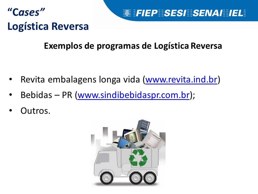 """Cases"" Logística Reversa Exemplos de programas de Logística Reversa Revita embalagens longa vida (www.revita.ind.br)www.revita.ind.br Bebidas – PR (w"
