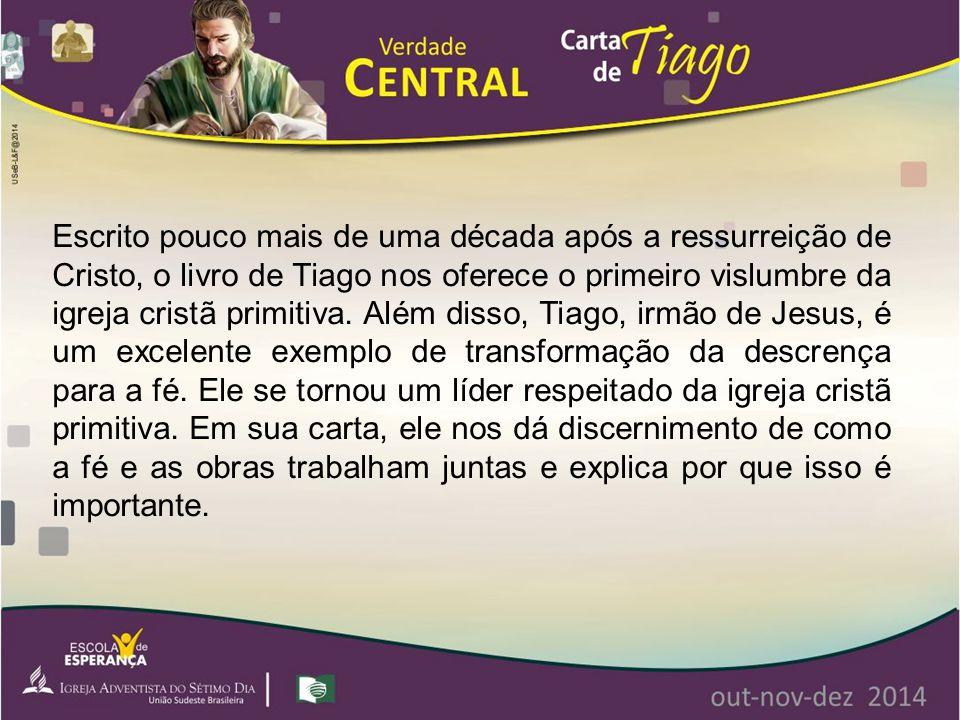 Escrito pouco mais de uma década após a ressurreição de Cristo, o livro de Tiago nos oferece o primeiro vislumbre da igreja cristã primitiva. Além dis