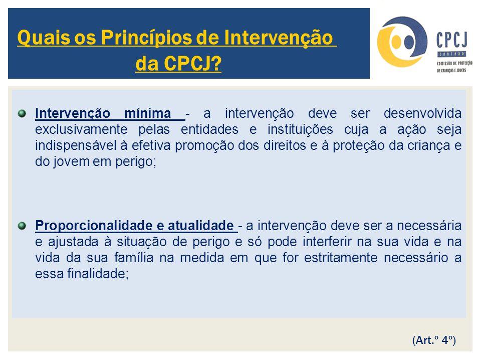 Intervenção mínima - a intervenção deve ser desenvolvida exclusivamente pelas entidades e instituições cuja a ação seja indispensável à efetiva promoç
