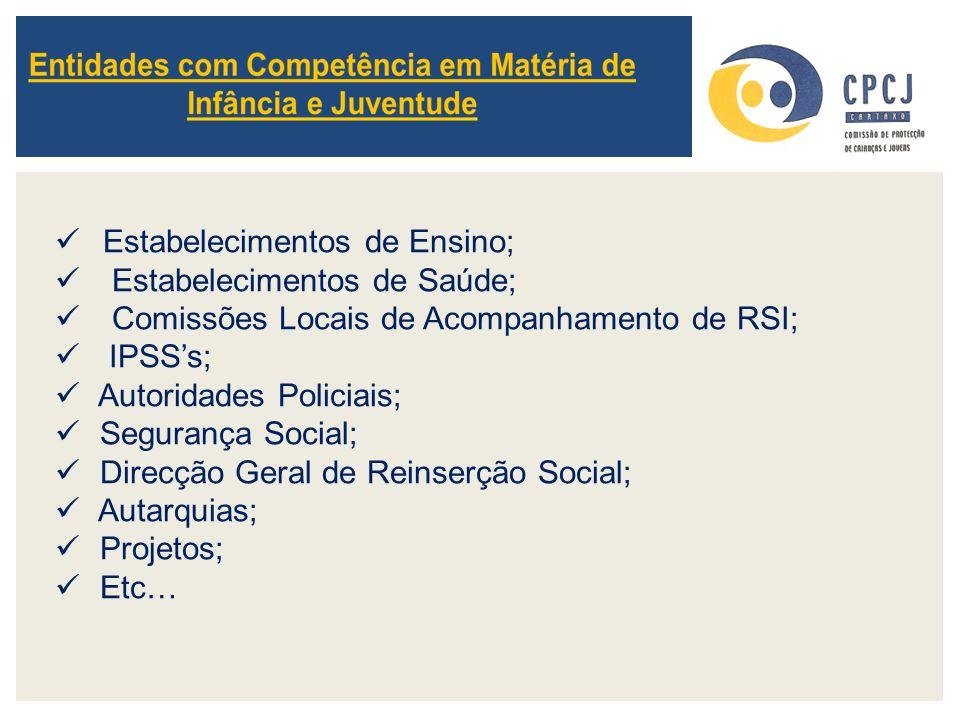 Estabelecimentos de Ensino; Estabelecimentos de Saúde; Comissões Locais de Acompanhamento de RSI; IPSS's; Autoridades Policiais; Segurança Social; Dir