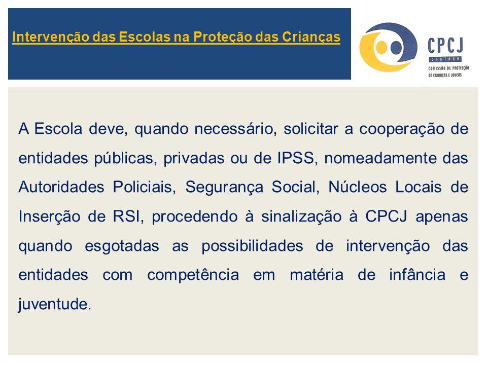 Intervenção das Escolas na Proteção das Crianças A Escola deve, quando necessário, solicitar a cooperação de entidades públicas, privadas ou de IPSS,