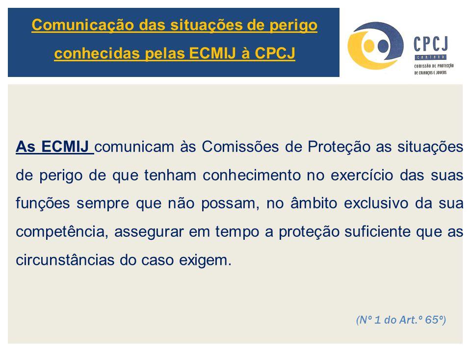Comunicação das situações de perigo conhecidas pelas ECMIJ à CPCJ As ECMIJ comunicam às Comissões de Proteção as situações de perigo de que tenham con